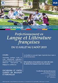 Affiche Cours de vacances 2019 - Perfectionnement en langue et littérature françaises